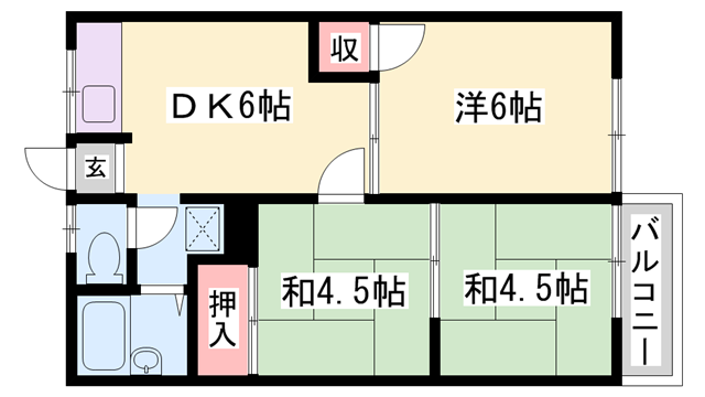 物件番号: 1119483066  加古川市加古川町溝之口 3DK ハイツ 間取り図
