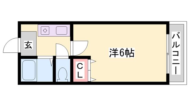 物件番号: 1119483249  姫路市青山4丁目 1K ハイツ 間取り図