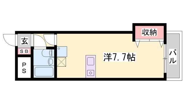 物件番号: 1119483608  小野市本町1丁目 1R マンション 間取り図