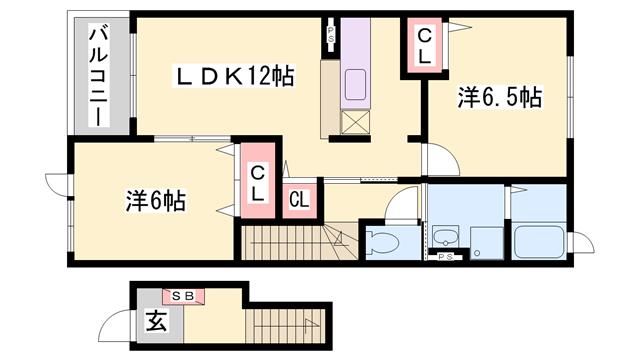 物件番号: 1119483673  神崎郡福崎町南田原 2LDK ハイツ 間取り図