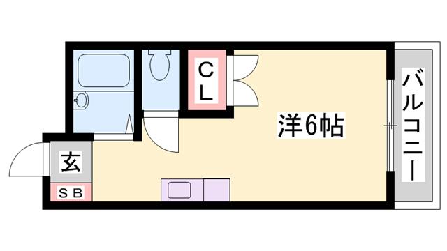 物件番号: 1119483893  姫路市御立北1丁目 1R マンション 間取り図