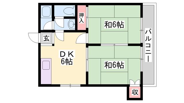 物件番号: 1119484473  姫路市白国1丁目 2DK ハイツ 間取り図