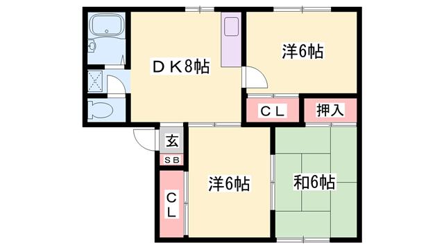 物件番号: 1119484474  姫路市網干区垣内東町 3DK ハイツ 間取り図