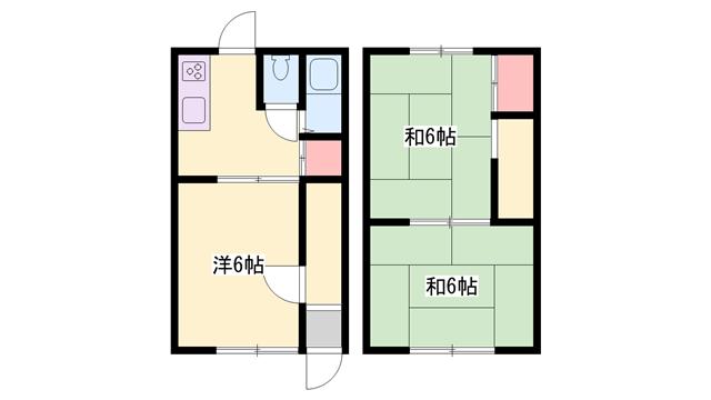 物件番号: 1119484711  加古川市尾上町安田 3K テラスハウス 間取り図