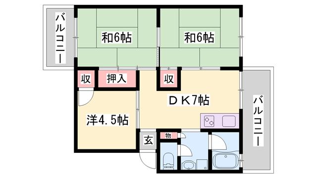 物件番号: 1119484753  姫路市網干区余子浜 3DK マンション 間取り図
