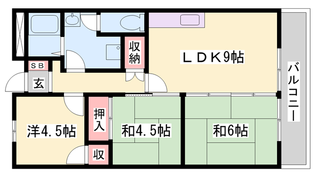 物件番号: 1119484772  姫路市飾磨区細江 3LDK マンション 間取り図