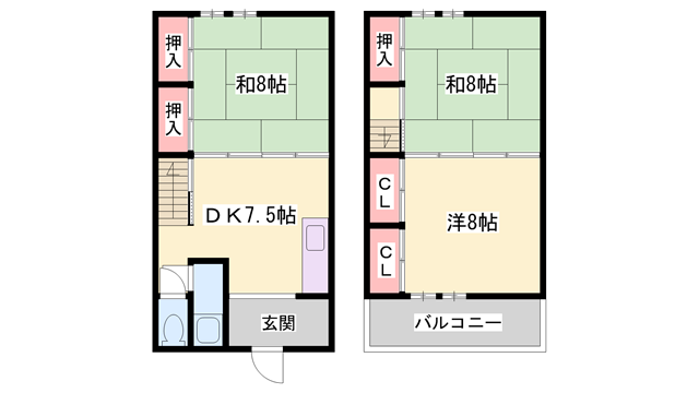 物件番号: 1119484897  姫路市保城 3DK 貸家 間取り図