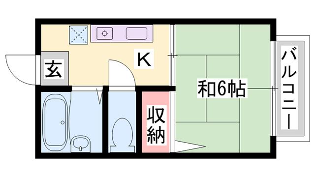物件番号: 1119485301  加古川市別府町東町 1K アパート 間取り図