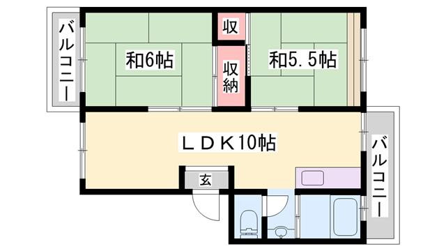物件番号: 1119485389 厚生年金住宅  神戸市西区王塚台4丁目 2LDK マンション 間取り図