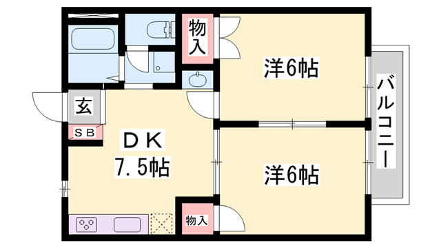 物件番号: 1119485572  西脇市黒田庄町田高 2DK ハイツ 間取り図