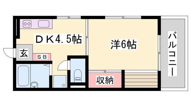 物件番号: 1119485791  姫路市田寺1丁目 1DK ハイツ 間取り図