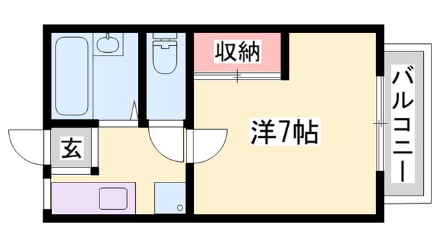 物件番号: 1119485875  姫路市御立中7丁目 1K ハイツ 間取り図