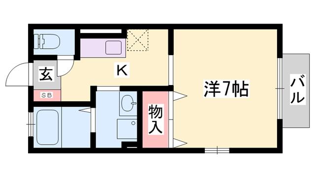 物件番号: 1119485951  西脇市和田町 1K ハイツ 間取り図