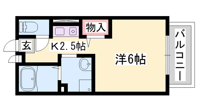 物件番号: 1119485995  姫路市東今宿3丁目 1K ハイツ 間取り図