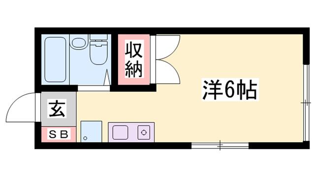 物件番号: 1119486209  姫路市書写 1R ハイツ 間取り図