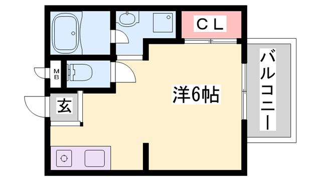 物件番号: 1119486337  姫路市書写 1K ハイツ 間取り図