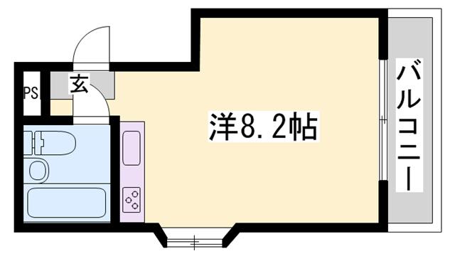 物件番号: 1119486342  姫路市香寺町中屋 1R マンション 間取り図