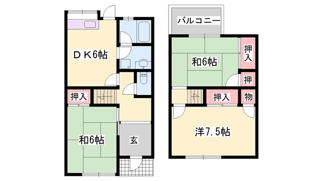 物件番号: 1119486347  高砂市米田町島 3DK テラスハウス 間取り図