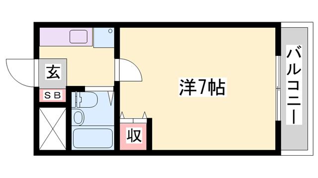 物件番号: 1119486495  姫路市砥堀 1R マンション 間取り図