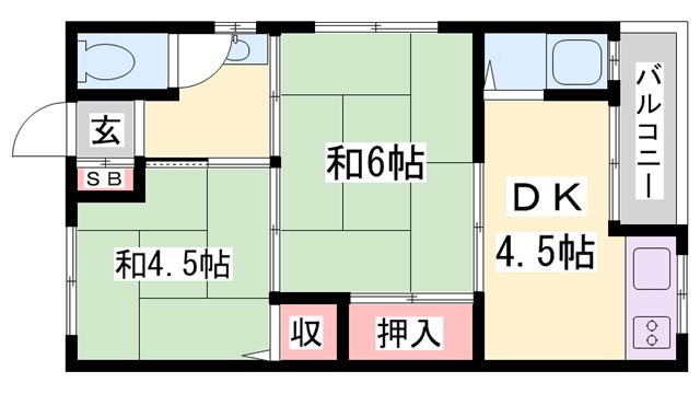 物件番号: 1119486702  姫路市辻井3丁目 2K ハイツ 間取り図