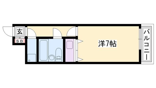 物件番号: 1119486826  加古川市加古川町北在家 1R マンション 間取り図