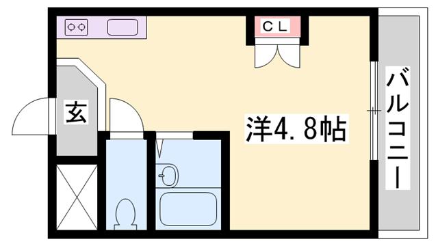 物件番号: 1119487379  姫路市白国4丁目 1K マンション 間取り図