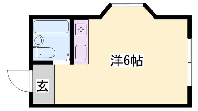 物件番号: 1119487393  姫路市香寺町中屋 1R マンション 間取り図