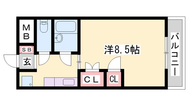 物件番号: 1119487405  姫路市上大野1丁目 1K マンション 間取り図