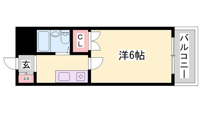 物件番号: 1119487496  姫路市広畑区東新町3丁目 1K マンション 間取り図