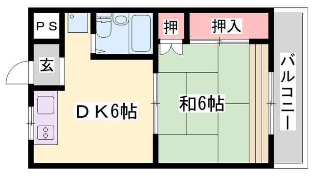 物件番号: 1119487542  姫路市田寺5丁目 1DK マンション 間取り図
