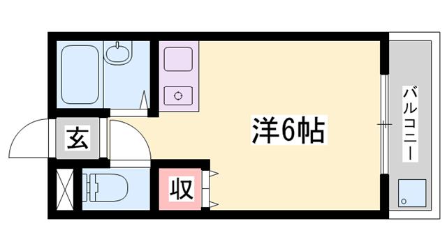 物件番号: 1119487548  姫路市増位本町2丁目 1K マンション 間取り図