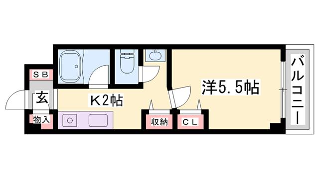 物件番号: 1119488146  姫路市田寺1丁目 1K マンション 間取り図