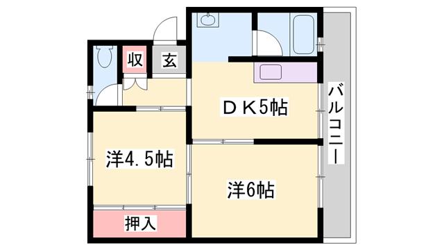 物件番号: 1119488254  加東市北野 2DK マンション 間取り図