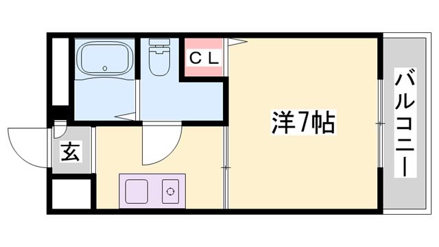 物件番号: 1119488345  神崎郡福崎町高橋 1K マンション 間取り図