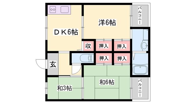 物件番号: 1119488384  姫路市書写台2丁目 3DK マンション 間取り図