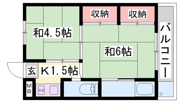 物件番号: 1119488387  姫路市広畑区西夢前台5丁目 2K マンション 間取り図