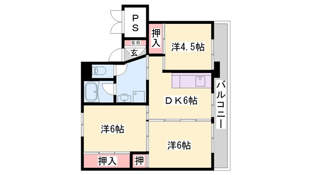 物件番号: 1119488455  加東市上三草 3DK マンション 間取り図