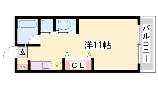 物件番号: 1119488508  姫路市北平野4丁目 1R ハイツ 間取り図