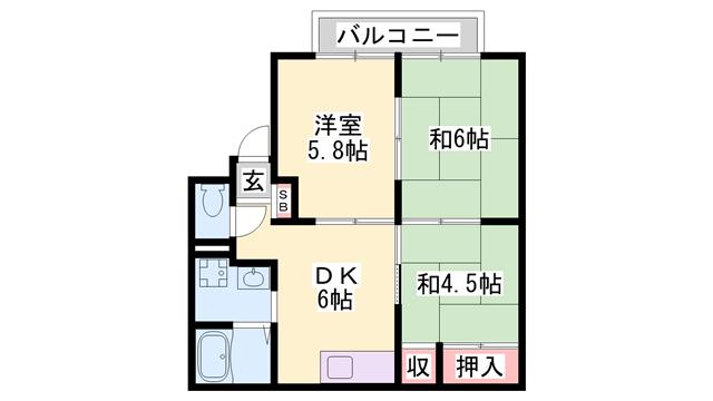 物件番号: 1119488651  加古川市尾上町安田 3DK アパート 間取り図