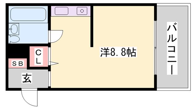 物件番号: 1119488720  姫路市増位本町2丁目 1R ハイツ 間取り図