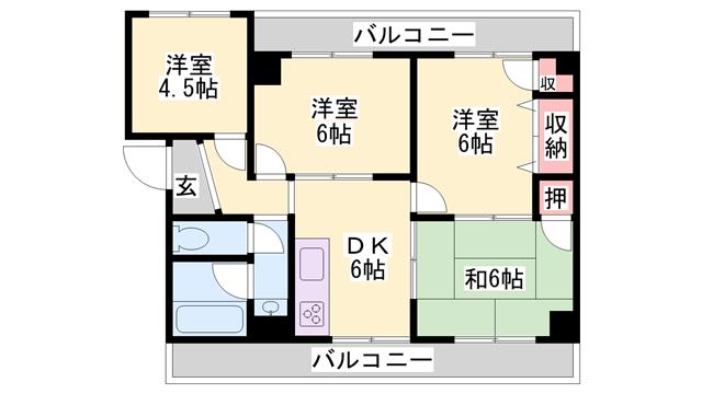 物件番号: 1119488749  加古川市東神吉町西井ノ口 4DK マンション 間取り図