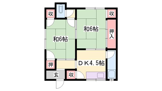 物件番号: 1119488863  加古川市平岡町一色 2DK ハイツ 間取り図