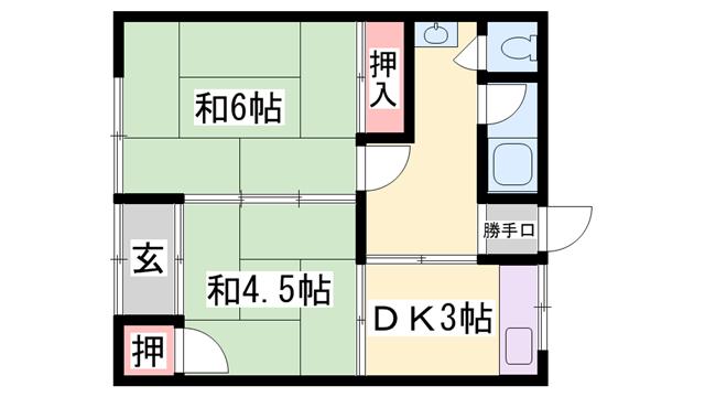 物件番号: 1119488915  姫路市勝原区朝日谷 2DK アパート 間取り図