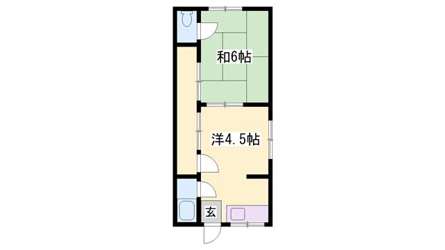 物件番号: 1119488919  神崎郡福崎町福田 2K アパート 間取り図