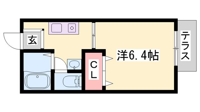 物件番号: 1119488997  加東市社 1K ハイツ 間取り図