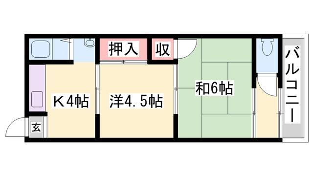 物件番号: 1119489004  加古川市加古川町溝之口 2K アパート 間取り図