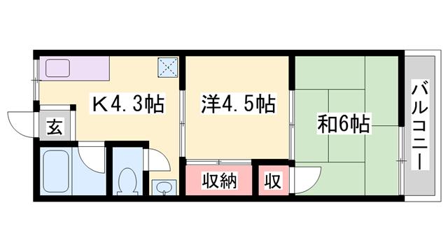 物件番号: 1119489010  姫路市大津区天満 2K アパート 間取り図