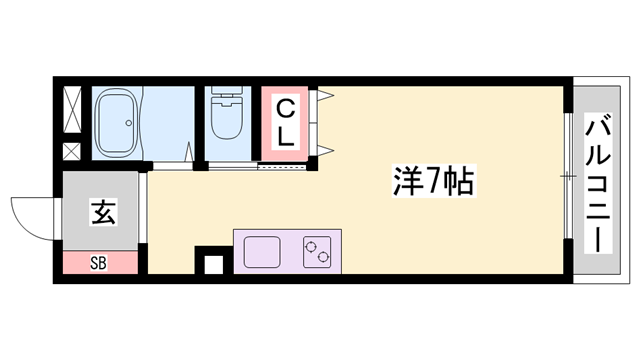 物件番号: 1119489116  高砂市米田町米田 1R マンション 間取り図