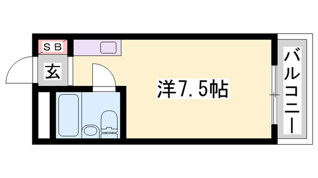 物件番号: 1119489281  姫路市白国1丁目 1R マンション 間取り図