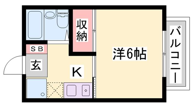 物件番号: 1119489390  姫路市新在家中の町 1K ハイツ 間取り図